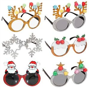 CHRISTMAS NOVELTY GLASSES SNOWFLAKE PUDDING ANTLER XMAS TREE FESTIVE GLASSES