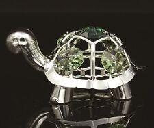 Silver Plated Baby Tortoise Figurine W/ Emerald Swarovski Crystal Elements