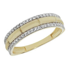 9ct Yellow Gold 2 Row Band Cubic Zirconia Set Ring, Sizes J to S (879)