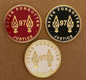 LIVERPOOL 97 NEVER FORGOTTEN MEMORIAL ENAMEL PIN BADGE SET x 3 - RED/WHITE/BLACK