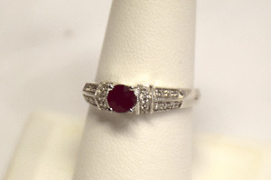 Fashionable 14K White Gold Ruby and Diamond Ring