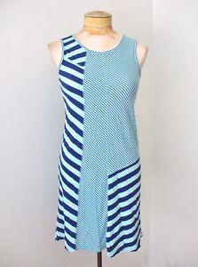 Splendid blue patchwork stripe cotton modal jersey knit tank dress Teen 14-16