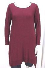 Eileen Fisher sz Medium Wine Red LS 100% Merino Wool Knit Sweater Dress/ Tunic