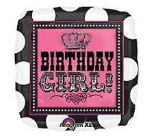 "Lot of 5 18""  PINK & BLACK SQUARE BIRTHDAY GIRL PARTY BALLOONS Helium Mylar"