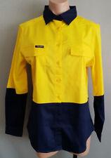 BNWT Ladies Sz 12 King Gee Brand Yellow Blue Stretch Spliced Long Sleeve Shirt