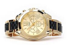 Black Gold Geneva Med Size Women's Boyfriend Style Bracelet Watch