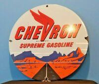 VINTAGE SUPREME CHEVRON GASOLINE PORCELAIN GAS SERVICE STATION PUMP PLATE SIGN