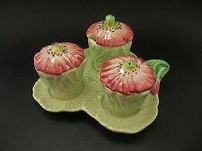 Carlton Ware Poppy Green English China Cruet Set Salt Pepper Mustard Pot c1950s