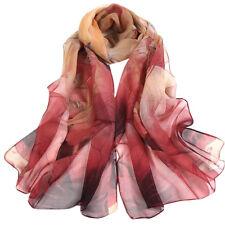 Fashion Adult Chiffon Women Lotus Printing Long Soft Wrap Scarf Shawl Scarves CA