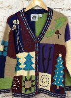 Storybook Knits Christmas cardigan sweater womens medium patchwork tree folk J1