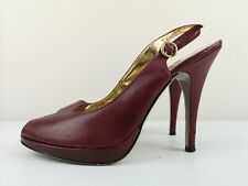 TED BAKER London Ladies High Heel Burgundy Leather Court Peeptoe Shoe Size 6 39