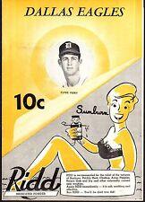 1951 DALLAS EAGLES vs TULSA OILERS Baseball Program/Scorecard
