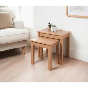 NEW HIGH QUALITY NEST OF 2 TABLE OAK FINISH HOME LIVING ROOM SOLID NESTED TABLES