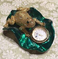 Vintage Rhinestone Frog & Lily Pad  Dresser Top Clock
