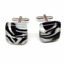 SALE! Zebra Stripe Black & White Candy Stripe Murano Glass & Silver Cufflinks