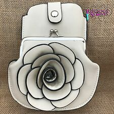 Cream Rose Purse Small bag with Mobile Phone Spectacles Holder Long Strap