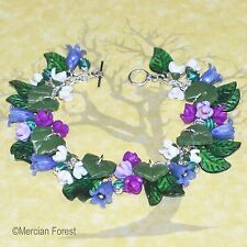 Woodland Spring Pagan Bracelet - Bluebell, Snowdrop, and Crocus Clay Jewellery