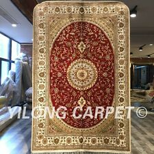 YILONG 4'x6' Handmade Silk Carpet Flooring Decor Medallion Red Area Rug ZW228C