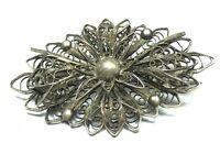 Vintage Hand-Made Filigree .925 Sterling Silver Floral Flower Pin / Brooch L@@K!