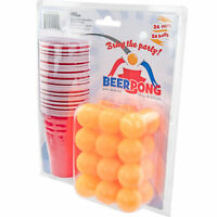 Beer Pong All In One Set - 24 Ping Pong Balls and 24 Plastic Cups Game Gift Pack