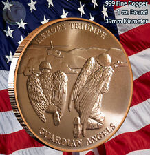 """Heroes Triumph Guardian Angels"" 1 oz .999 Copper Round Love Your Veterans"