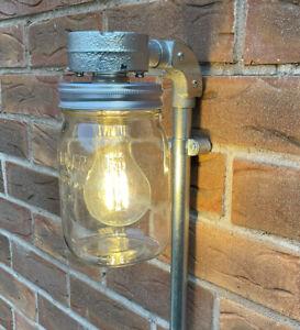 Vintage Kilner jar wall light industrial retro style.