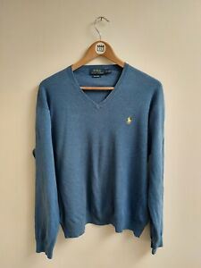 Polo Ralph Lauren Pina Cotton V Neck Jumper - Sweater - Blue - Large - L