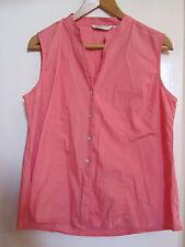 Salmon Pink Cotton Sleeveless EWM Shirt in Size 16