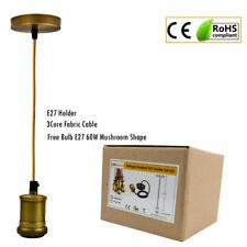 E27  Pendant Lamp Holder Hanging Loft Brass New Ceiling Rose Light Fabric Flex