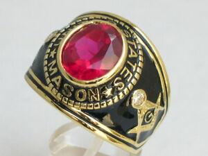12X10 mm United States July Red Ruby Color Stone Mason Masonic Men Ring Size 13