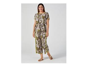 Kim & Co Brazil Jersey Relaxed Tulip Hem Trousers Khaki Multi Size XL BNWT