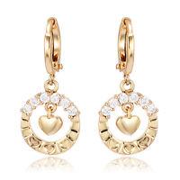 Fashion womens Hoop Earrings Heart wreath 14K Gold Filled CZ Fashion Jewelry