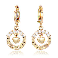 Little Girls Childrens Safety Baby Hoop Earrings Heart 10K Gold Filled Crystal