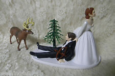 Wedding Deer Hunter Bow Hunting Cake Topper ~Red Hair on Bride - Dark on Groom~~