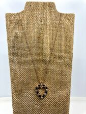 Vintage 14k Yellow Gold Blue Sapphire & Diamond Necklace