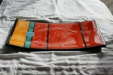"ART GLASS TRAY MULTICOLOR  7x12"" INCH RECTANGLE SUSHI / CHEESE , YELLOW ORANGE."