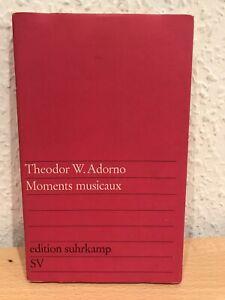 Theodor W. Adorno - Moments musicaux   edition suhrkamp EA