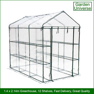 Greenhouse Garden Universe WalkIn PVC Cover 12 Shelves 1.4m x 2.14m RollUp Door