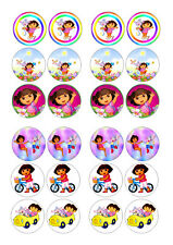 24 DORA BIRTHDAY  CUPCAKE  WAFER RICE EDIBLE FAIRY CAKE TOPPERS