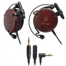 New Audio-Technica ATH-EW9 Wooden Wood Ear Fit Clip-On Headphones WithTracking