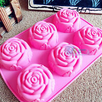 6 Rose Silicone Muffin Cup Cake Jelly Baking Mould Pan DIY Pudding Soap Mold New