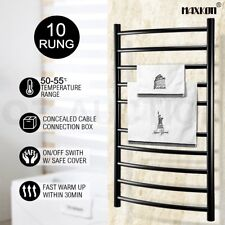 Maxkon 10 Bars Heated Towel Rail Warmer Electric Bathroom Drying Wall Rack Round
