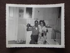 OLD MAN WITH SHOT GLASS & YOUNG WOMAN HOLDING  BOTTLE VTG 1940's  PHOTO