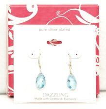 Swarovski Elements Silver Plated Dazzling Blue Crystal Teardrop Earrings