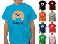 DOG WOOF ANIMAL BOYS GIRLS DESIGNER T-SHIRT TSHIRT CHILD KIDS CHILDRENS AGE 1-12