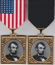Abraham Lincoln Commemorative Civil War Medal from an Original w/2 Medal Drapes