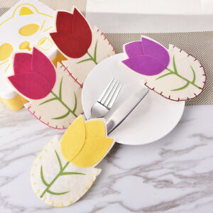 Silverware Bags Fork Holders 4pcs Easter Table Decor Floral Spring
