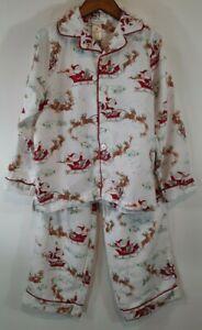 Pottery Barn Kids Flannel Pajama Set Sze 8 PJs Christmas Santa Sleigh White Red