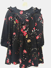 Zara Girl Dressy Rayon Floral Dress Size 3-4 Long Sleeves & Bloomers & Hairclip