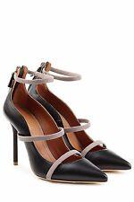 "NIB $850 Malone Souliers ""Robyn"" Black Beige Leather Pumps Heels 39 US 8.5 8 9"